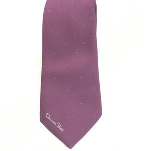 Oscar De La Renta Purple Silk Neckwear Tie